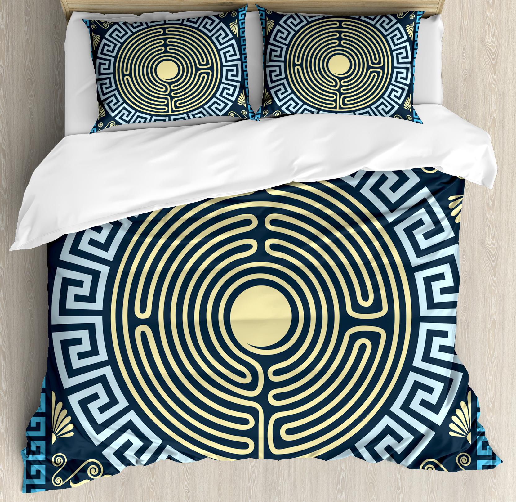 Greek Key Duvet Cover Set, Yellow and Blue Labyrinth Pattern from Ancient Culture with Floral Details, Decorative Bedding Set with Pillow Shams, Pale Yellow Blue, by Ambesonne