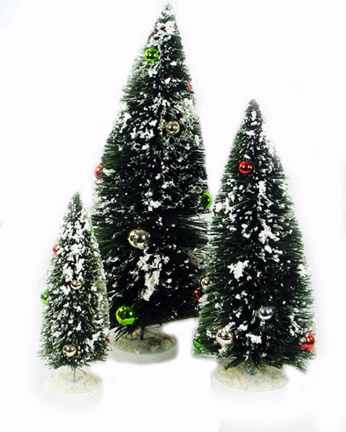Miniature Christmas Tree Flocked Set of 3 With Ball Ornaments ...