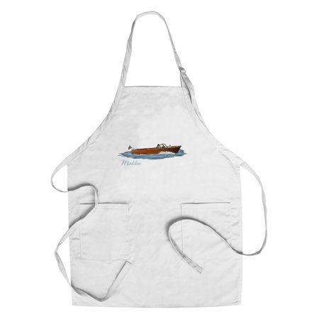 Malibu  California   Chriscraft Boat   Icon   Lantern Press Artwork  Cotton Polyester Chefs Apron