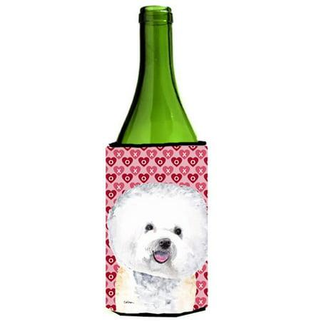 Bichon Frise Hearts Love and Valentines Day Portrait Wine bottle sleeve Hugger 24 oz.