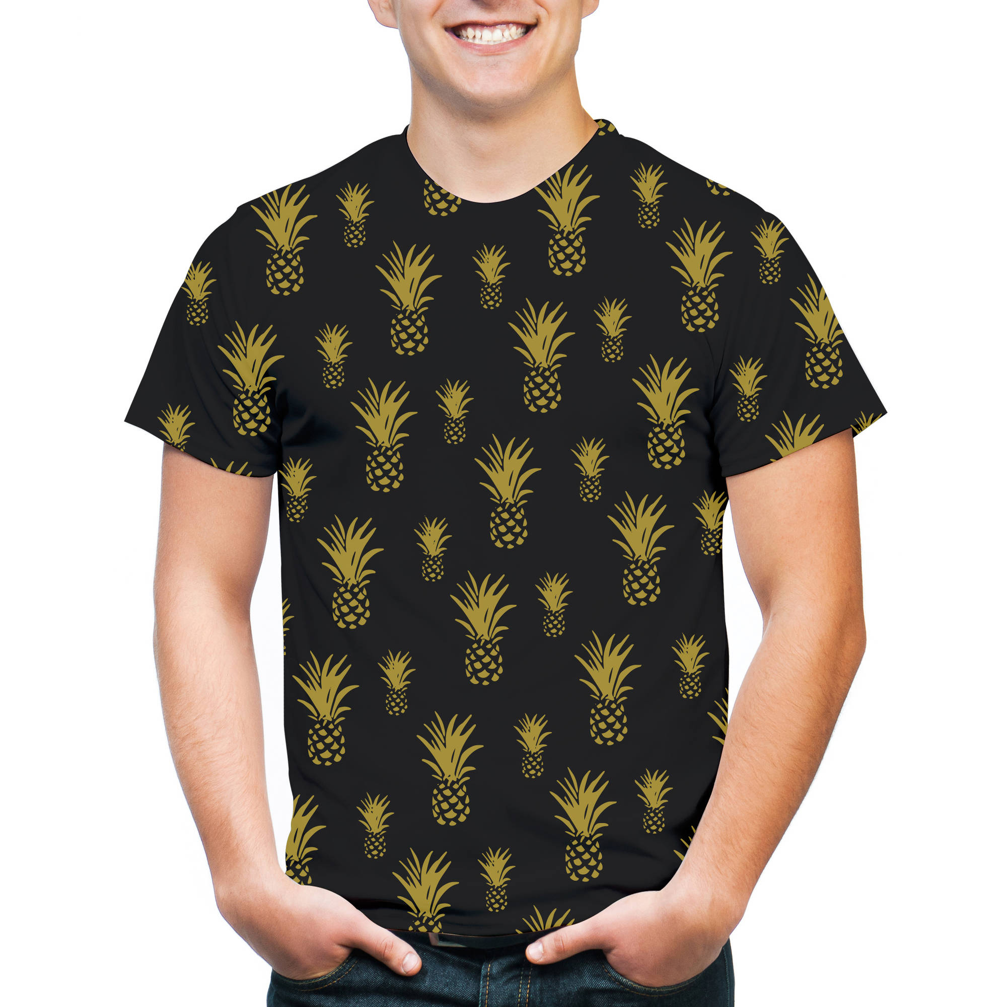 Pineapple Allover Print Big Men's Graphic Tee, 2XL