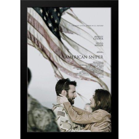 American Sniper 28x36 Large Black Wood Framed Movie Poster Art Print