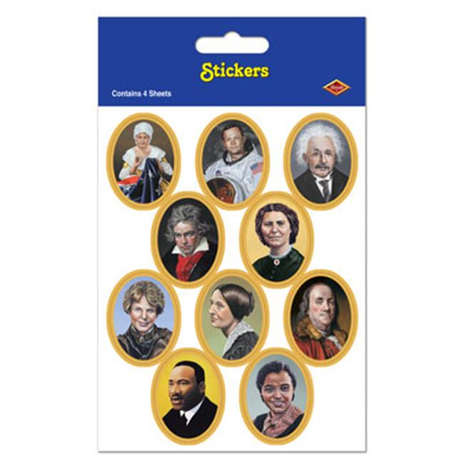 Beistle 54053 Faces In History Stickers, Pack Of 12