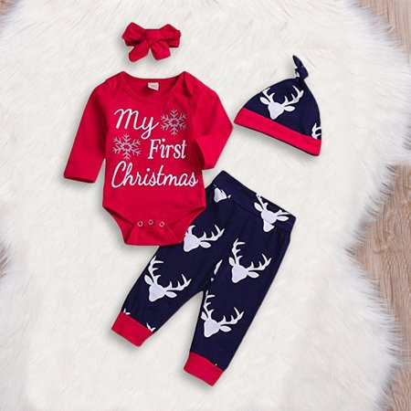 My First Christmas Baby Boy Girl Romper Tops+Pants+Hat+Headband Clothes Outfits Red 12-18 Months ()