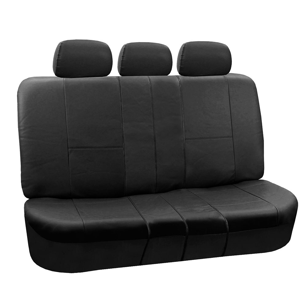 FH Group Black Faux Leather Bench Seat Cover, Accommodate left and right 40/60 split, 40/20/40 split and 50/50 split