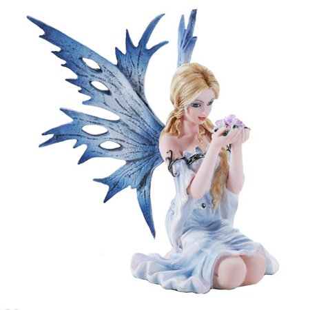 4.75 Inch Fairyland Blue Winged Fairy with Flowers Statue Figurine (4.5) (Fairy Ring Flowers)