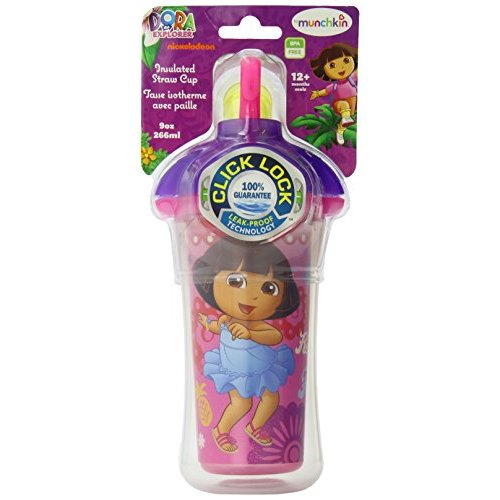 Munchkin Dora the Explorer Click Lock 9 Oz Insulated Straw Cup, BPA-Free