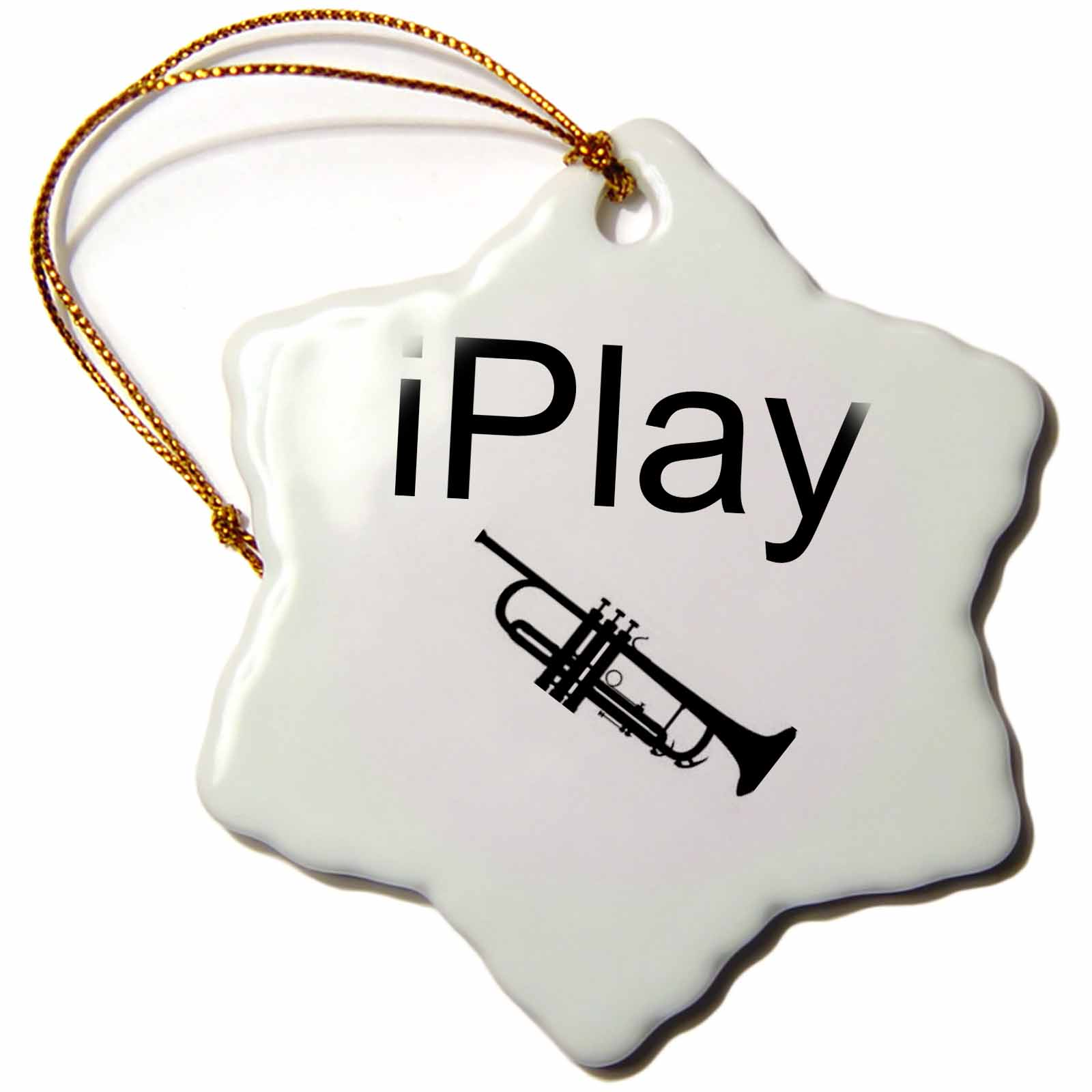 3dRose iPlay, black lettering on white background with picture of trumpet, Snowflake Ornament, Porcelain, 3-inch