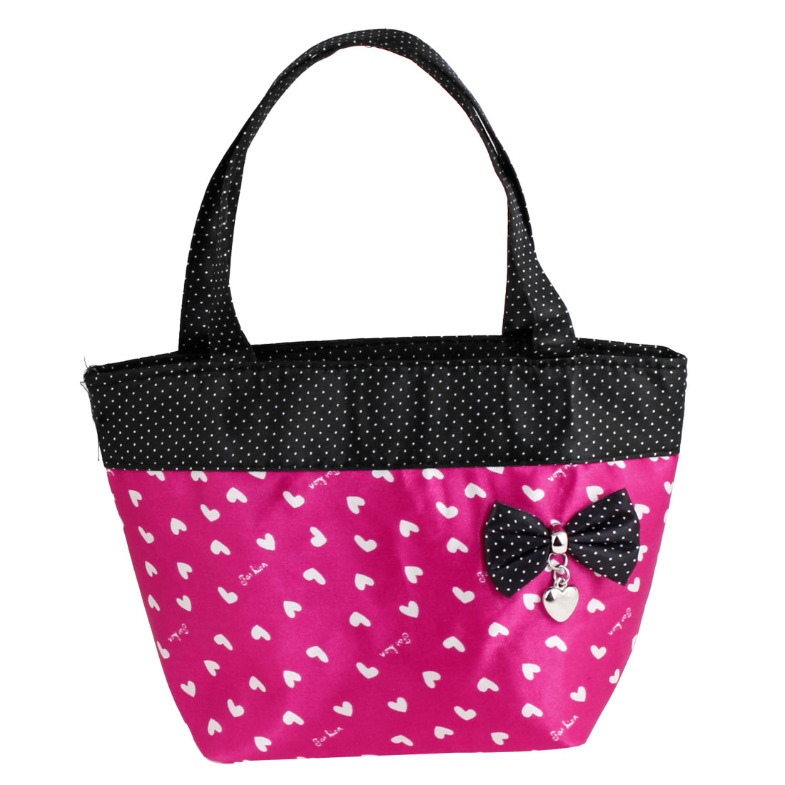 Fuchsia Black Portable Bag Bowknot Detail Zip up Polyester Shopping Handbag