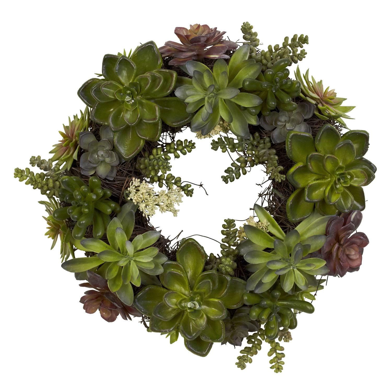 Nearly Natural 20in Succulent Wreath Artificial Plant Green Walmart Com Walmart Com