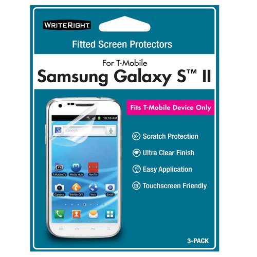 WriteRight Screen Protector for Samsung Galaxy S II, 3pk