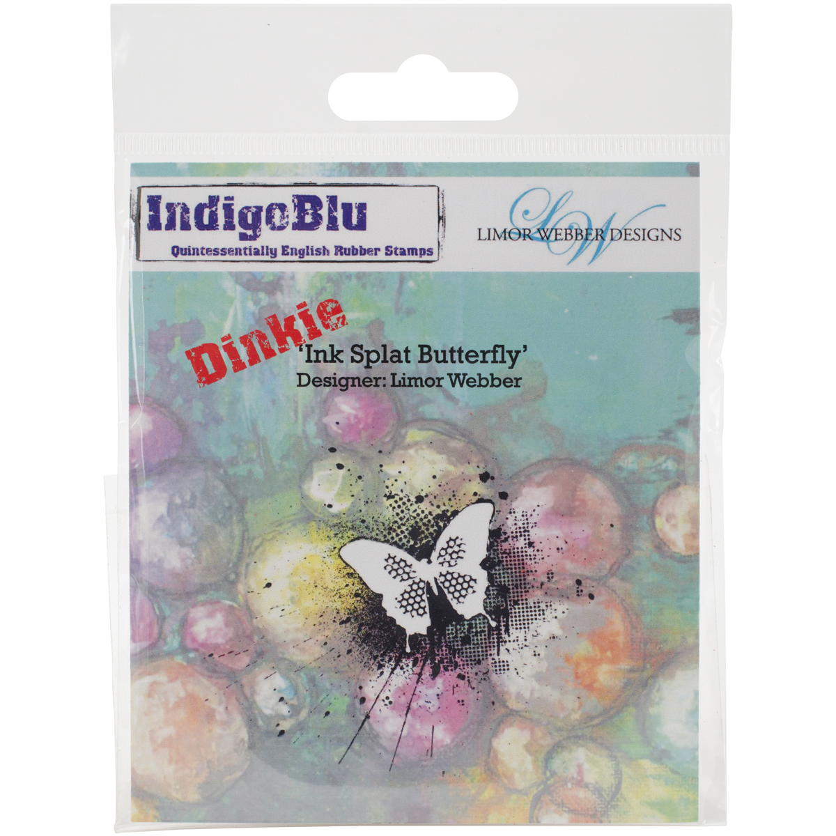 """IndigoBlu Cling Mounted Stamp 4""""X3""""-Ink Splat Butterfly - Dinkie"""
