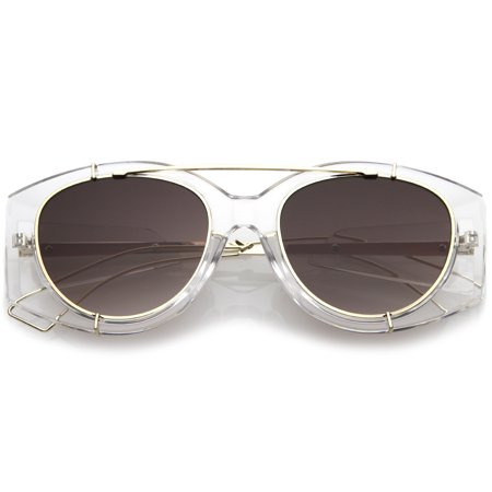 Futuristic Translucent Wire Metal Arms Crossbar Round Flat Lens Oversize Sunglasses 53mm (Clear Gold / (Translucent Round Sunglasses)
