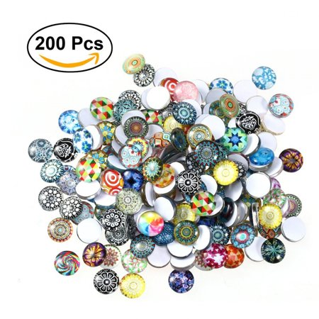 ULTNICE Glass Cabochons Mosaic Printed Glass Dome Cabochons Mosaic Tiles for