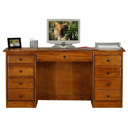 Eagle Furniture Oak Ridge 68 in. Tall Double Pedestal Desk with Optional Hutch Hutch Optional Door
