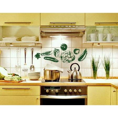 Green Covered Vegetable Dish - Vegetable Set Wall Decal - Wall Sticker, Vinyl Wall Art, Home Decor, Wall Mural - 2232 - 47in x 48in, Yellow green