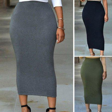 Thick High Waist Slim Skirt Body con Stretch Long Maxi Women Pencil Skirt ()