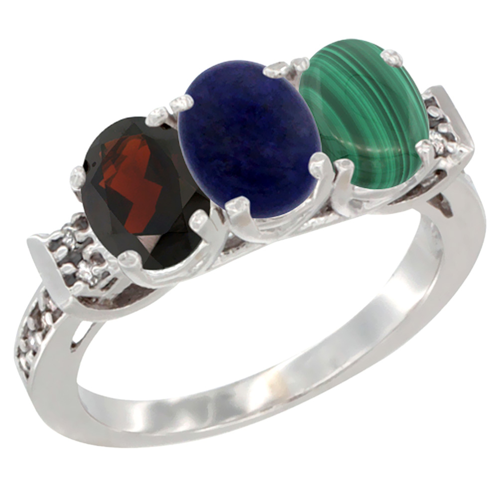 10K White Gold Natural Garnet, Lapis & Malachite Ring 3-Stone Oval 7x5 mm Diamond Accent, sizes 5 10 by WorldJewels