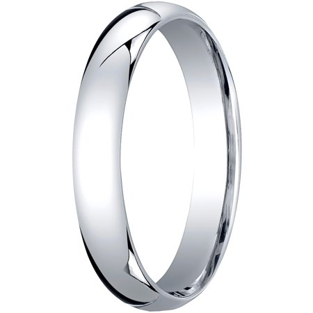 Womens 14K White Gold, 4mm Slim Profile Comfort-Fit Wedding Band (4mm White Gold Band)