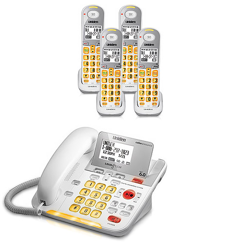Uniden D3098-4 Amplified Corded / Cordless Phone with 3 Additional Handsets