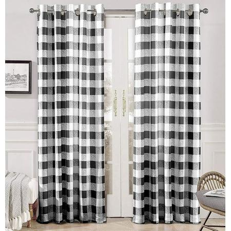 DriftAway Checker Pattern Room Darkening Window Curtains, Back Tab, Set of Two Panels,52