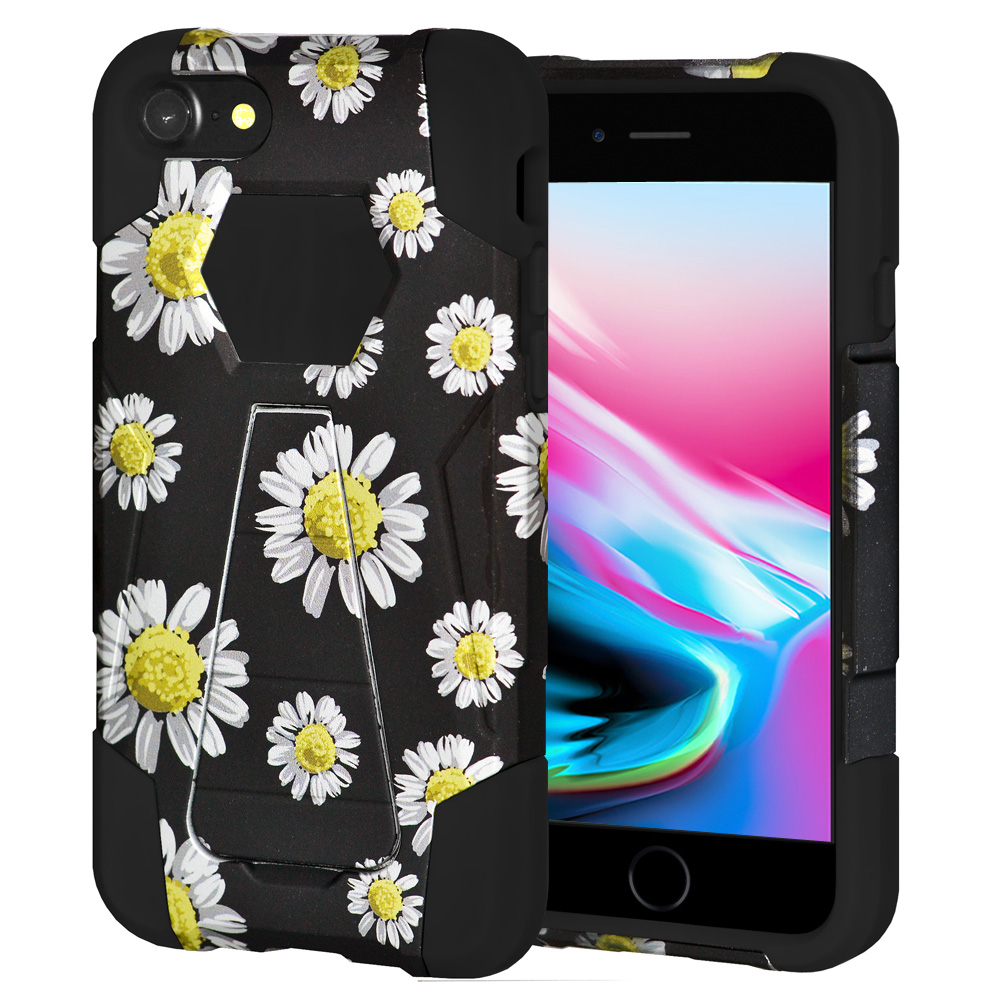 iPhone 8 Case, Premium Designer Slim Fit Dual Layer Case ShockProof Back Cover with Kickstand for Apple iPhone 8 - White Daisy