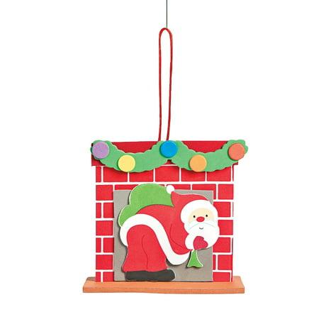 Fun Express - 3d Foam Santa Chimney Ornament CK-12 for Christmas - Craft Kits - Ornament Craft Kits - Foam - Christmas - 12 Pieces