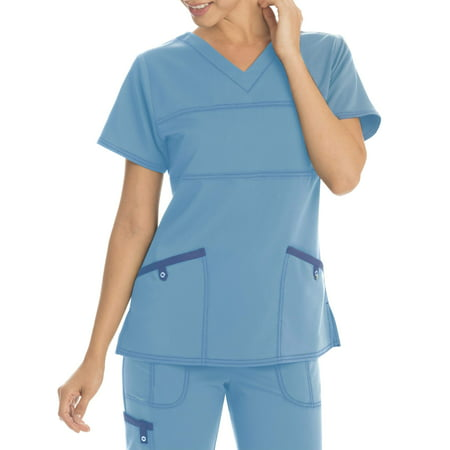 Scrubstar Women's Stretch Twill Color Accent V-Neck Scrub Top (Scrub Jackets For Nurses)