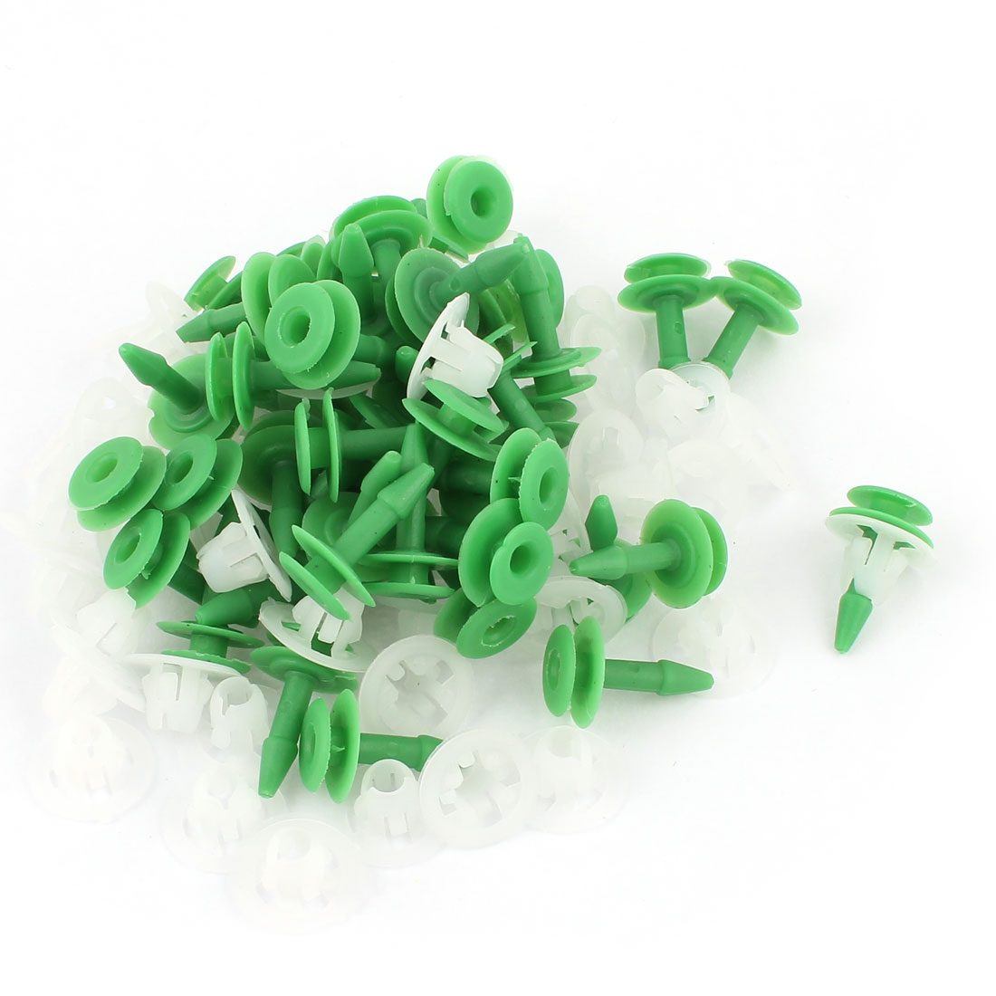 Unique Bargains 9mm Hole Green White Panel Door Fender Trim Clip Fasteners Buckle 50Pcs for Benz