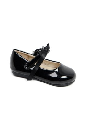 Pazitos Little Girls Black Patent Bow Ballerina Mary Jane Shoes 9 Toddler