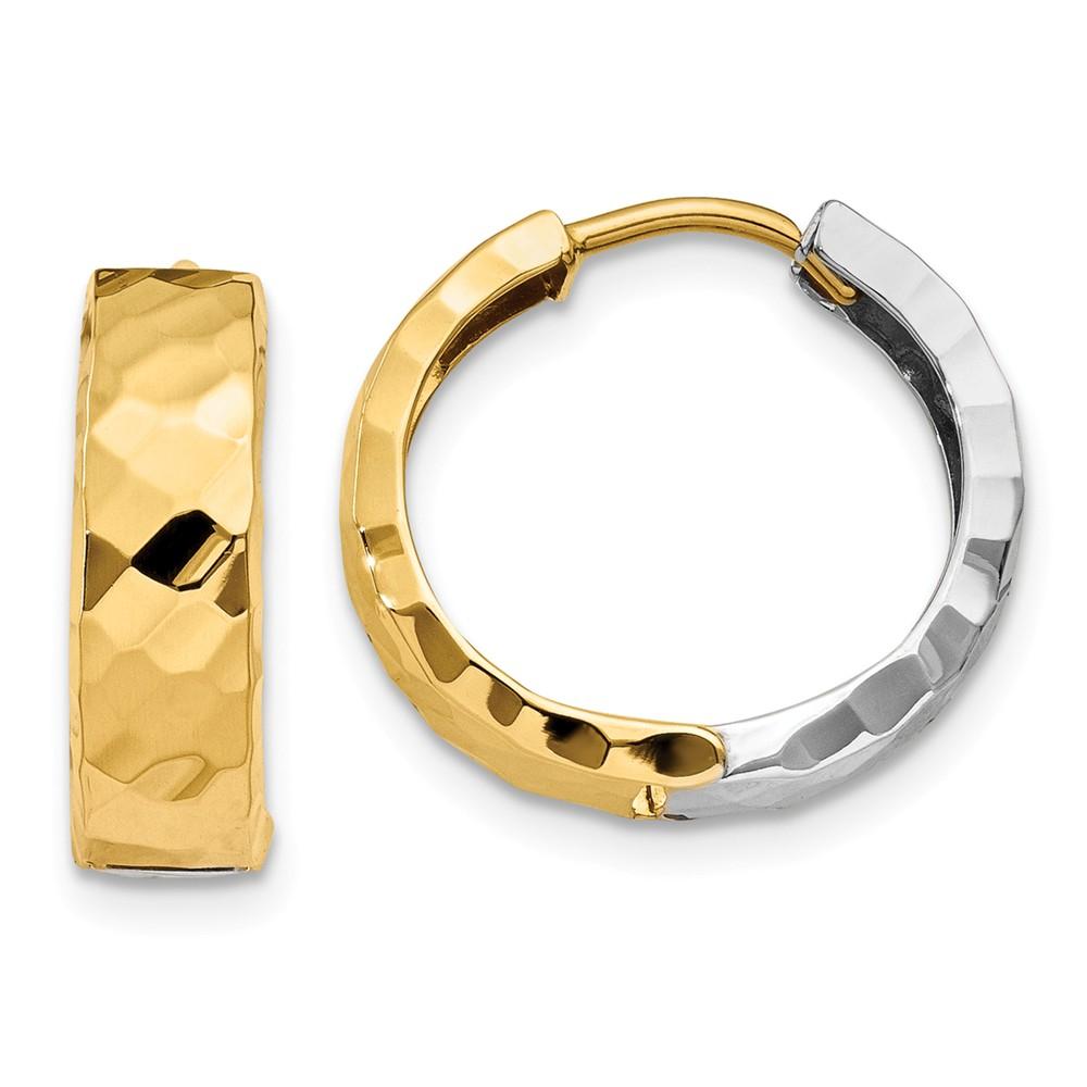 14k Two Tone Gold Textured Hinged 0.5IN Hoop Huggie Style Earrings (0.5IN x 0.5IN )