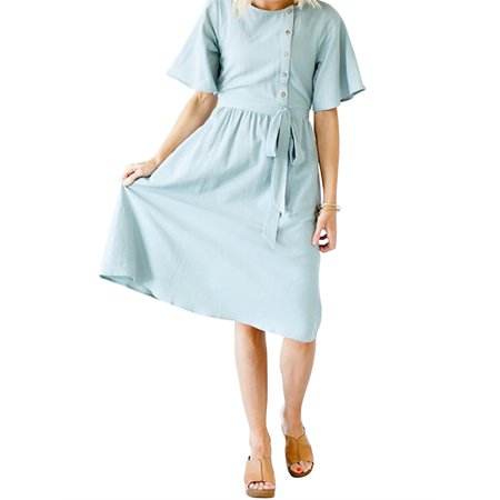 Buttons Women Casual Cotton Dress with Bownot -
