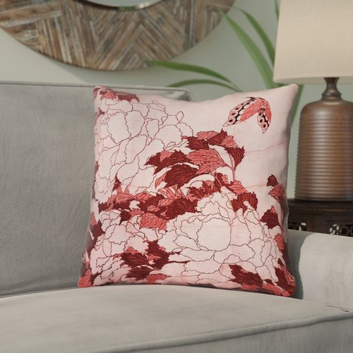 Bloomsbury Market Clair Peonies and Butterfly Indoor Throw Pillow