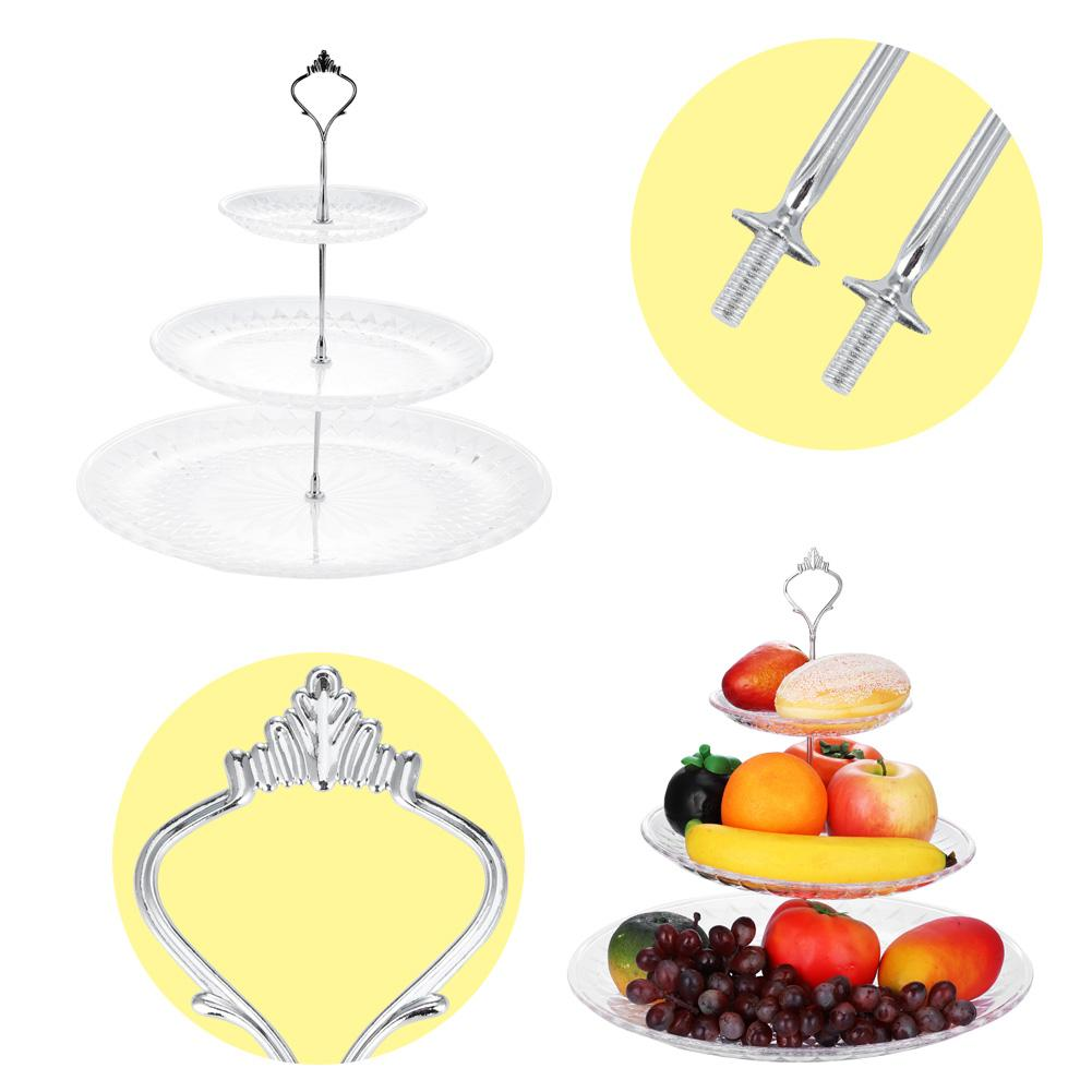 Lv. life 3-Tier Acrylic Cake Tray Fruits Nuts Display Round Decorative Party Desserts Holder,Cakes Holder, 3 Tier Cake Plate