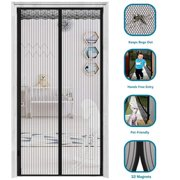 2020 Upgraded Magnetic Screen Door w/ 32 Magnets Heavy Duty Mesh Curtain Door Mesh Screen Magnetic Door Screen Net Full Frame Seal Hands Free Pets Kid Friendly Keeps Mosquitoes Bugs Out 34 x83