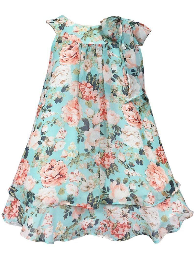 Girls Aqua Floral Chiffon Junior Bridesmaid Dress 8-12 - Walmart.com