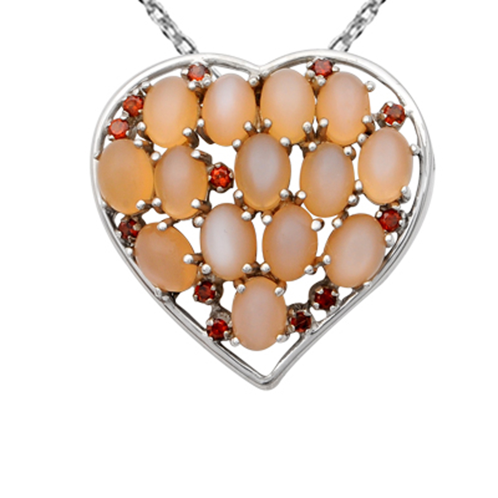Orchid Jewelry 925 Sterling Silver 17 2/5 Carat Orange Mo...