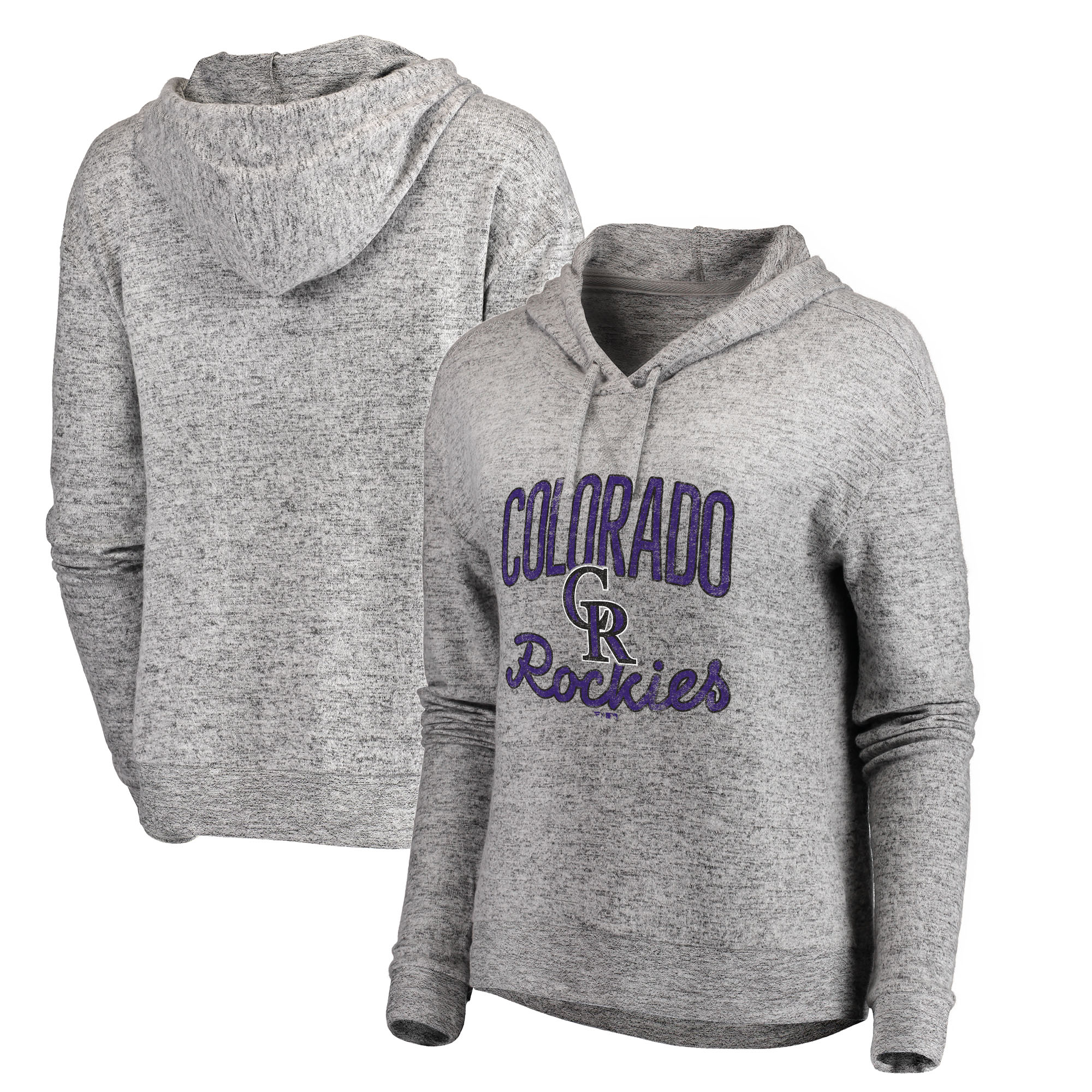Colorado Rockies Let Loose by RNL Women's Cozy Collection Steadfast Pullover Hoodie - Heathered Gray