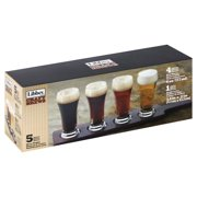 Libbey Craft Brews Beer Flight 6-Ounce Clear Pilsner Glass Set, 5-Piece Multi-Colored