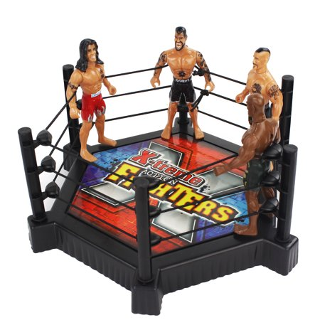 Toy International Cage of Wrestling Action Figure Playset with 4 Wrestlers, Wrestling Cage / Ring, and Accessories for The Ultimate Match!