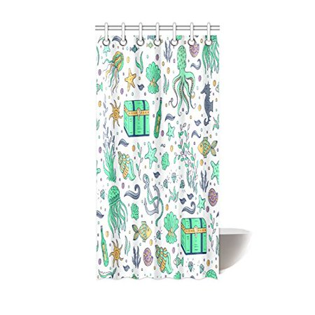 GCKG Summer Ocean Octopus Anchor Fish Shower Curtain Hooks 36x72 inches White Green Colorful Fabric Sea and Nautical Elements Octopus Fish Anchor Shell Dower Chest - image 3 de 3