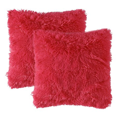 Popeven Pack of 2 Luxury Faux Fur Throw Pillow Cover Deluxe Christmas Decorative Plush Pillow Case Cushion Cover Shell for Sofa Bedroom Car 18 x 18 Inch Rose Red