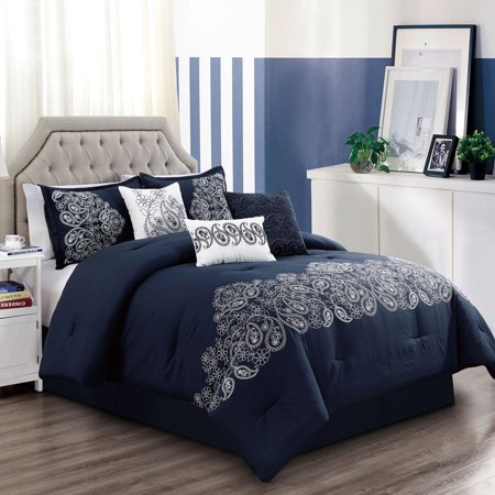 Embroidery Patchwork Comforter (Chezmoi Collection Linz 7-Piece Paisley Floral Scroll Embroidery Comforter Set)