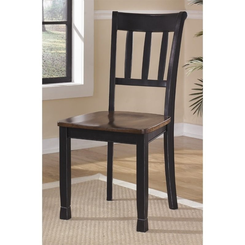 Ashley Owingsville Dining Chair in Black and Brown (set of 2)