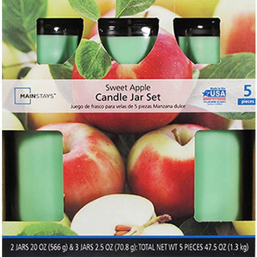 Mainstays 5 Pc Candle Jar Set Sweet Apple