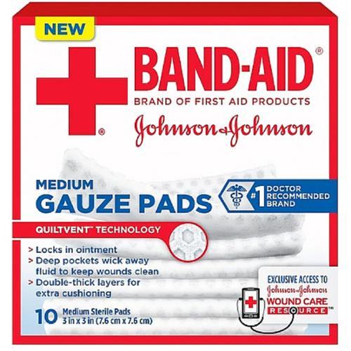 JOHNSON & JOHNSON Band-Aid First Aid Gauze Pads 3 Inches X 3 Inches 10 Each (Pack of 4)