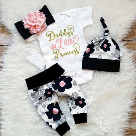 4pcs Newborn Toddler Baby Girl Floral Clothes Jumpsuit Romper Bodysuit Pants Headband Hat Outfit Set 0-6 Months - Newborn Girl Halloween Outfits