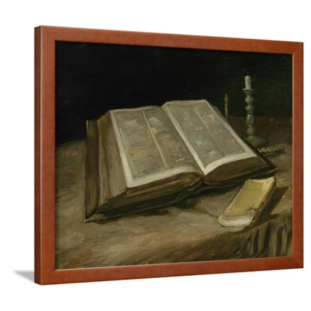 Christian Painting (Still Life with Bible, 1885 Fine Art Christian Painting Framed Print Wall Art By Vincent van)