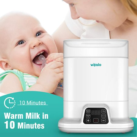 Wipalo Bottle Sterilizer and Dryer for Baby, Large Capacity Electric Steam Sterilizer with Auto Power-Off,Digital LCD Display for Sterilizing, Drying, Warming Milk, Heating Food with Remote