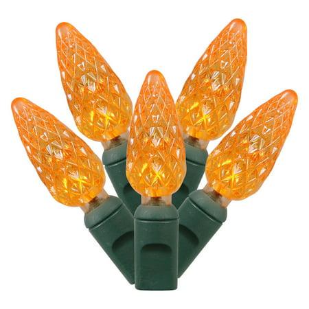 Vickerman Orange LED C6 Single Mold String Lights, 50 Count